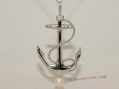 Spp451 Freshwater Pearl Pendant Solid Sterling Silver Nautical Theme Anchor