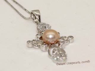 spp455 Sterling Silver Freshwater Pearl Blossom Pendant Zircon Bead accent