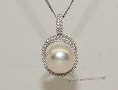spp456 Sterling Silver Cubic Zirconia Double Circle Pendant  With Cultured Freshwater Pearl