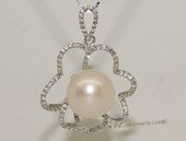 spp457 Sterling Silver  Freshwater Pearl Blossom Pendant Zircon Bead accent