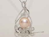 spp459 Sterling Silver Freshwater Pearl Blossom Pendant Zircon Bead accent
