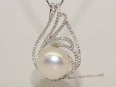 spp466   Cubic Zircon 925 Sterling Silver  Calabash Flower  Pearl Pendant