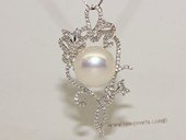 spp467   Cubic Zircon 925 Sterling Silver  Floral Branch  Pearl Pendant