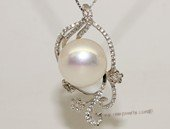 spp468 Cubic Zircon 925 Sterling Silver Floral Branch Pearl Pendant
