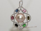 spp471 Sterling Silver Freshwater Pearl Blossom Pendant with Color Zircon Bead
