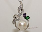 Spp473 Sterling Silver White  Bread Pearl and Cubic Zirconia Pendant