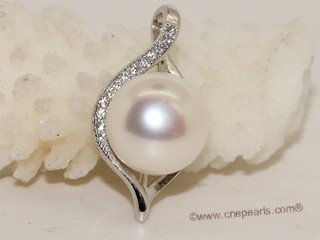 spp474 Simple 10-10.5mm White  Bread Pearl Pendant in sterling silver