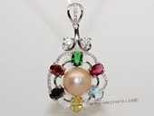 spp475 Sterling Silver Freshwater Pearl Blossom Pendant with Color Zircon Bead
