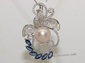 Spp477 Sterling Silver  Purple Bread Pearl and Cubic Zirconia Pendant