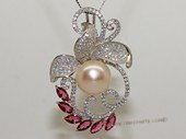 Spp478 Sterling Silver Pink Bread Pearl and Cubic Zirconia Pendant