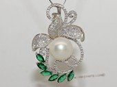 Spp479 Sterling Silver White Bread Pearl and Cubic Zirconia Pendant