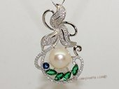 spp480 Sterling Silver Freshwater Pearl flower Pendant Zircon Bead accent