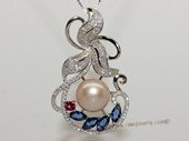 spp482 Sterling Silver Freshwater Pearl flower Pendant Zircon Bead accent