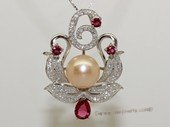 spp483 Sterling silver blossom flower freshwater cultured pearl and CZ pendant