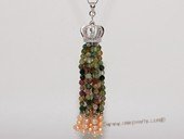 spp486 Tassel Pearl Pendant in Sterling Silver with Seed Pearls