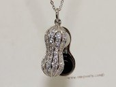 spp488 Sterling Silver Peanut Zircon Pendant With Freshwater Pearl