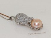 spp491  Sterling Silver Peanut Zircon Pendant With Freshwater Pearl