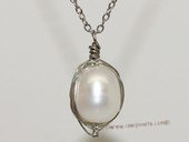 spp492 Handmade  Silver Tone Wire Wrap White Rice Pearl Pendant