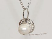 spp494  9-10mm Potato Pearl Sterling Silver  Charm Pendant