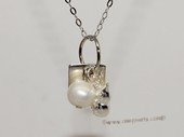 spp495 Freshwater Potato Pearl Sterling Silver  Charm Pendant
