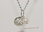 spp497  9-10mm Potato Pearl Sterling Silver  Charm Pendant