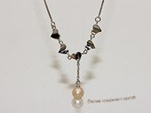 Spp506 Sterling Silver Chain Freshwater Pearl Necklace With Love Heart Fitting