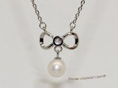 Spp507 Simple  freshwater pearl sterling silver chain Necklace