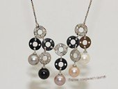 Spp508 Sterling Silver Chain Freshwater Pearl Necklace With Circle  Fitting