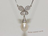 spp511  sterling silver chain   white rice pearl  butterfly pendant necklace
