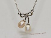 Spp516 Simple  freshwater pearl sterling silver chain Necklace