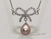spp518  sterling silver chain   rice pearl  Ribbon Style pendant  necklace