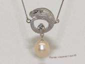 spp520  sterling silver chain  white rice pearl  Leopard  pendant  necklace
