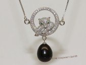 spp521  sterling silver chain  black rice pearl  Leopard  pendant  necklace