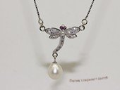 spp525  sterling silver chain   white rice pearl  dragonfly pendant necklace