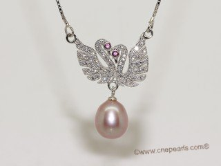 spp529  sterling silver chain double swan pendant with purple rice pearl