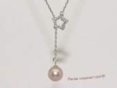 spp530  sterling silver chain star shape pendant with purple round pearl