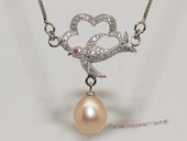 spp534  sterling silver chain   pink  rice pearl  bird design pendant necklace