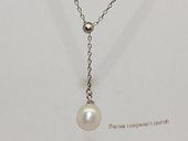 spp535 9-10mm white rice pearl sterling silver necklace with zircon