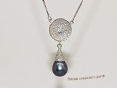 spp536 9-10mm black rice pearl sterling silver necklace with zircon