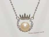 Spp540 Love crown freshwater pearl sterling silver chain Necklace