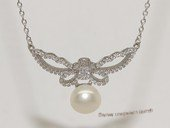 spp541 9-9.5mm white bread pearl sterling silver necklace with zircon