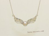 Spp543 Angel wing design freshwater pearl sterling silver chain Necklace