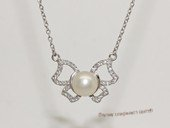 spp548 Sterling Silver White Bread Pearl and Cubic Zirconia Pendant