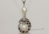 spp550 Sterling Silver Panther Zircon Pendant With Freshwater Pearl
