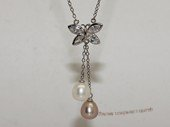 Spp552 Butterfly freshwater pearl sterling silver chain Necklace