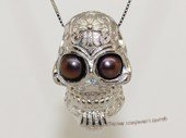 spp554 Sterling Silver Skull Pendant With Freshwater Pearl