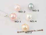 sppd021 Sterling silver sparkling round shell pearl pendant in wholesale