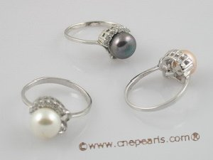 spr004 sterling silver 7.5-8mm pearl &zircon beads rings, us size 7