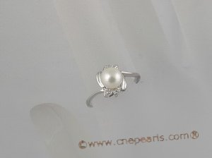 spr013 Sterling Silver Ring with 6-6.5mm bread Pearl and zircon design.US SIZE 7