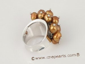 spr036 sterling silver Flower cluster potato seed pearl ring in coffee color
